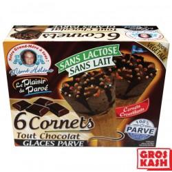 Glace en Cornets x6 Soja Chocolat 450 G kasher parve RAV ELMALEH