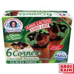 Glace en Cornets x6 Soja Vanille Chocolat/Pistache kasher parve RAV ELMALEH