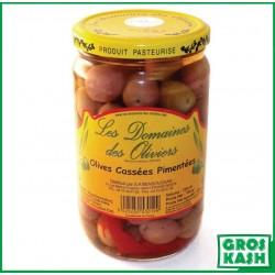Olives Cassées Pimentée Domaines de Olivier 72cl kasher le pessah
