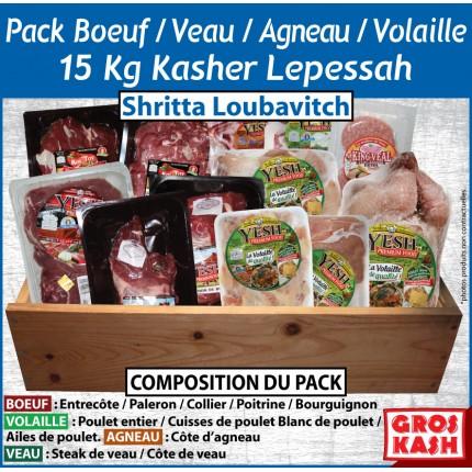 Pack mixte BOEUF/AGNEAU/VEAU/VOLAILLES 15kg Kasher Lepessah shtritta loubawitch