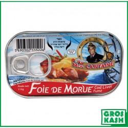 Foie de Morue MON CAPITAINE 120 G kosher lepessah RABBI HOD
