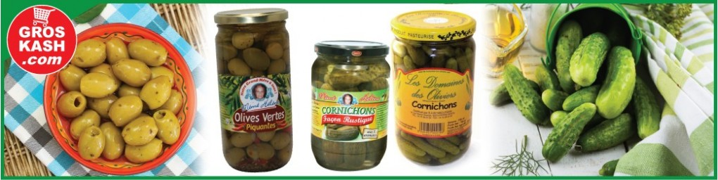 Olives et cornichons cacher livrés en 24-48h chez vous | Groskash